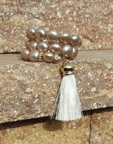 Platinum Wrap Around Bracelet with Tassel.