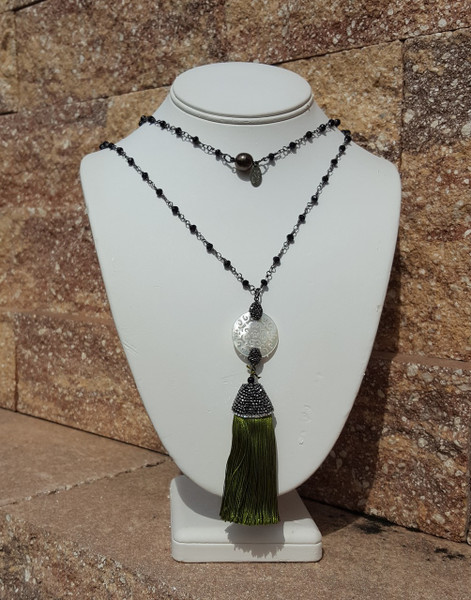 "Olive Green 36"" Tassel Necklace"