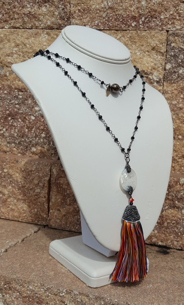 "Multi Color Tassel 36"" Necklace"