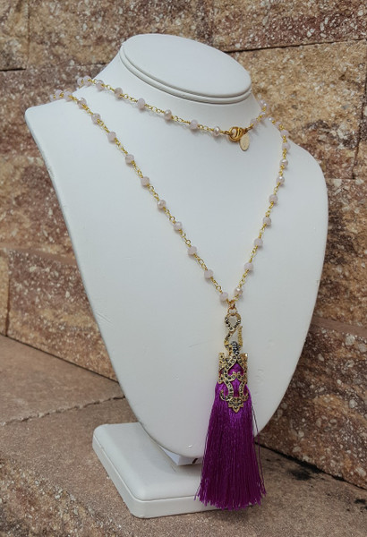 "Purple Berry Tassel 36"" Necklace"