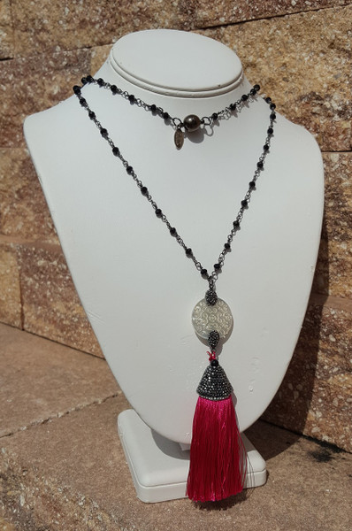 "Raspberry Tassel 36"" Necklace"
