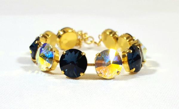 Denim and Aurora Borealis Bracelet