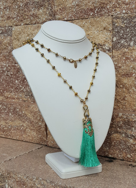 Sea Green Tassel Necklace