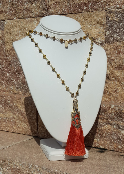 Coral Tassel Necklace