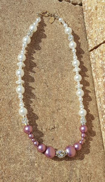 White/Aubergine Pearl Necklace
