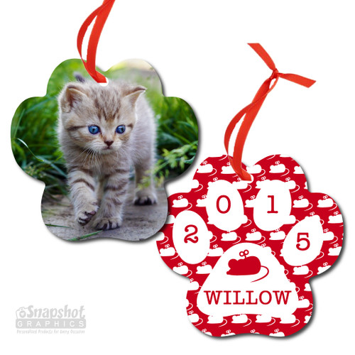 Cat Photo - Paw Metal Ornament