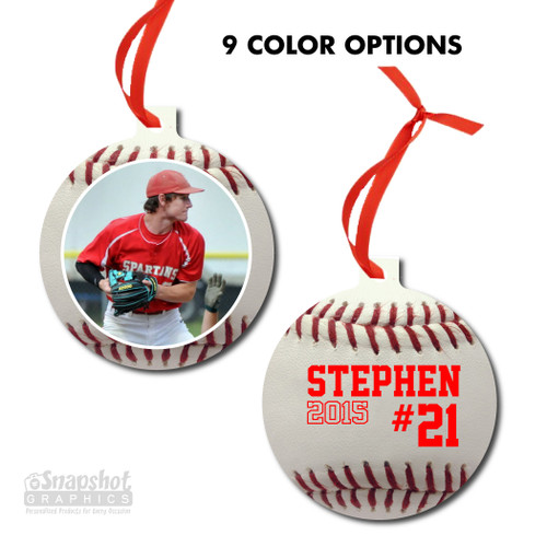 Baseball Photo - Bulb Metal Ornament