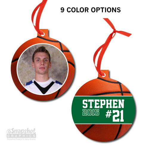 Basketball Photo - Bulb Metal Ornament