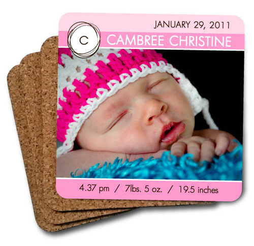 baby photo coaster set pink