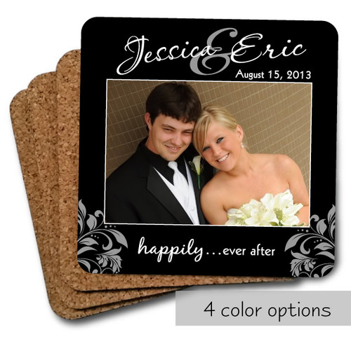 happily ever after photo coasters set - black