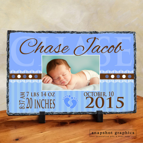 Birth Announcement Photo Stone - Blue