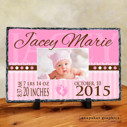 Birth Announcement Photo Stone - Pink