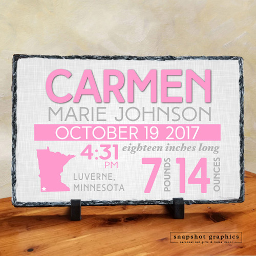 Birth Announcement Stone - Pink