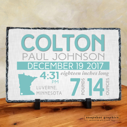 Birth Announcement Stone - Teal