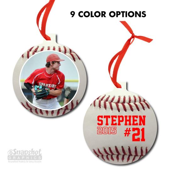 Baseball Photo - Bulb Metal Ornament