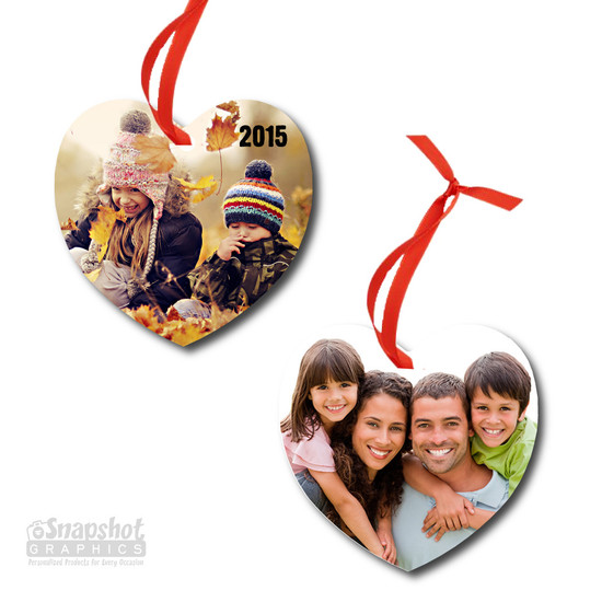 Two Photo - Heart Metal Ornament
