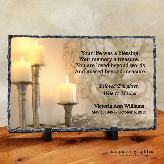 Your Life was a Blessing - Candle Memorial Stone