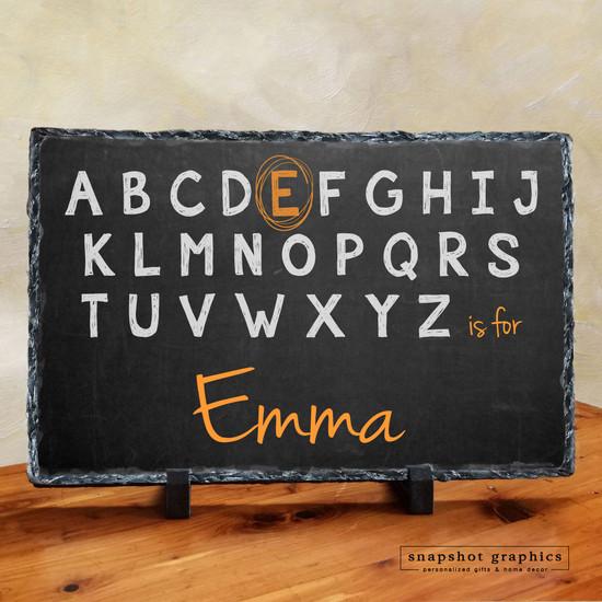 Chalkboard Alphabet Name Stone - Orange