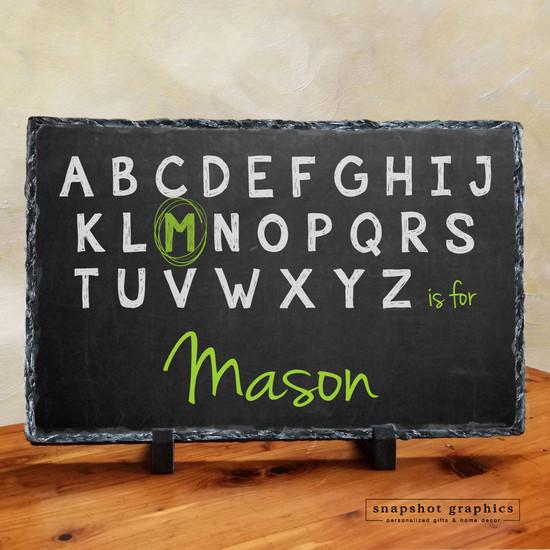 Chalkboard Alphabet Name Stone - Green