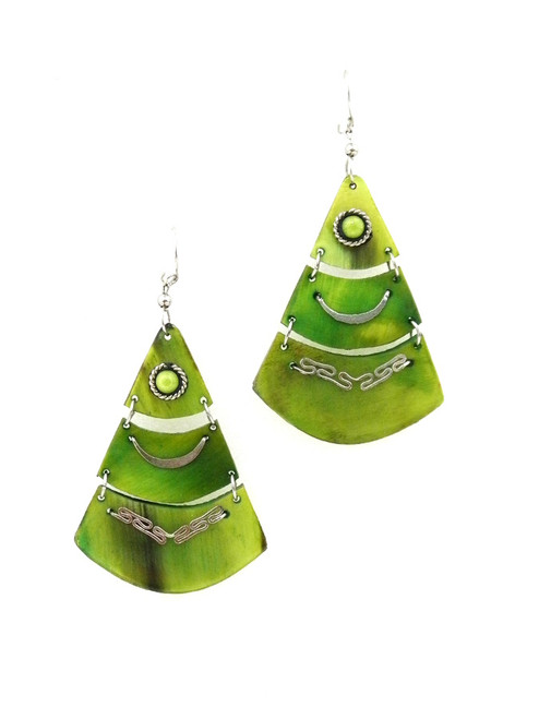 COLORED HORN TIERED EARRINGS
