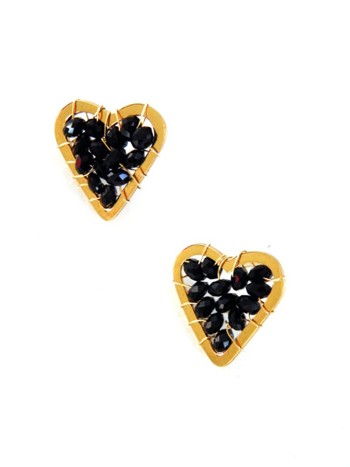 CRYSTAL GOLD HEART EARRINGS