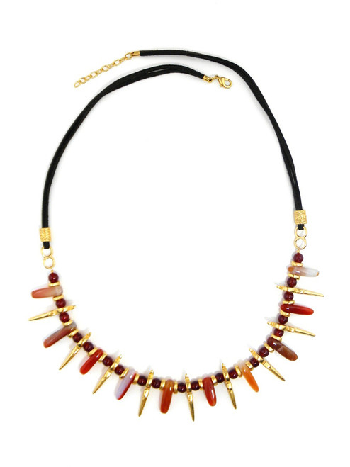 GOLD PLATED AGATE AND LEATHER NECKLACE