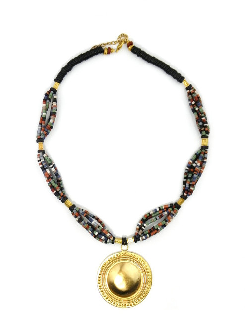 GOLD MEDALLION CERAMIC NECKLACE