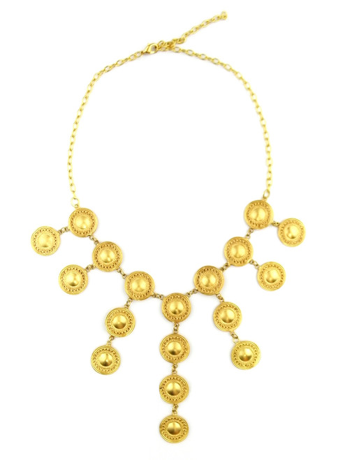 GOLD MEDALLION CASCADE NECKLACE