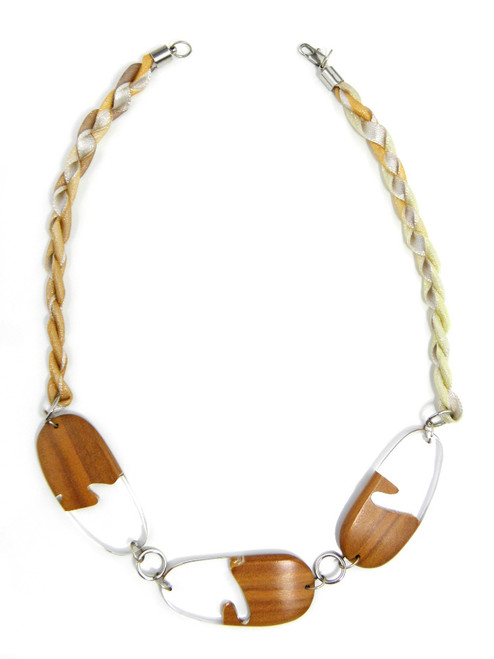 WOOD CLEAR RESIN NECKLACE