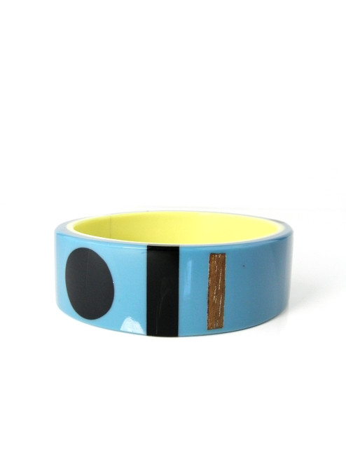 BLUE RESIN WOOD DETAIL CUFF