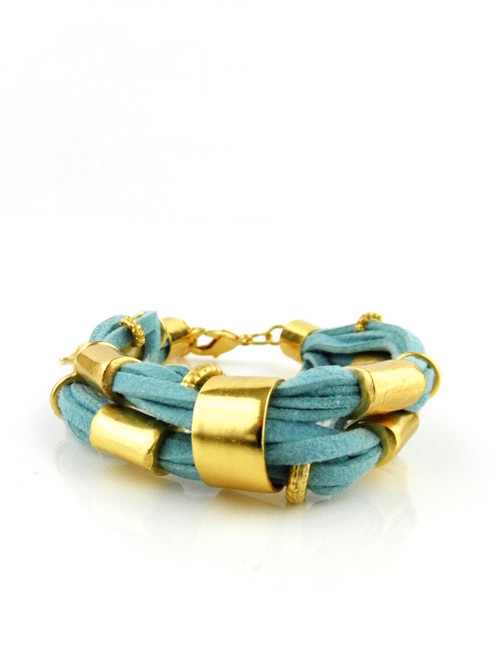 GOLD & LEATHER LARGE BRACELET