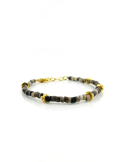 CERAMIC GOLD BEAD BRACELET