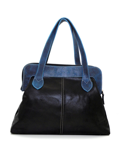 TWO TONE LEATHER VICKY BAG
