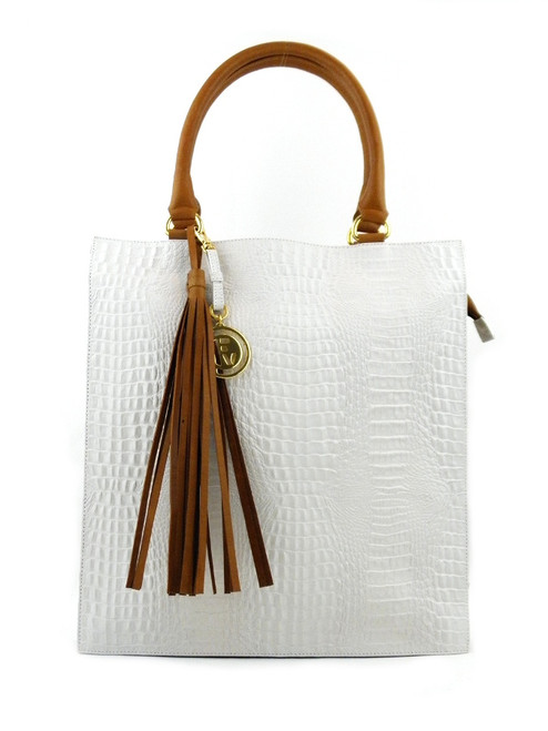 CROC EFFECT WHITE LEATHER TOTE