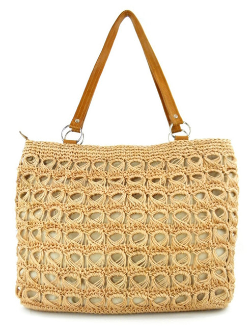 BROOMSTICK LACE CROCHETED TOTE pale coral
