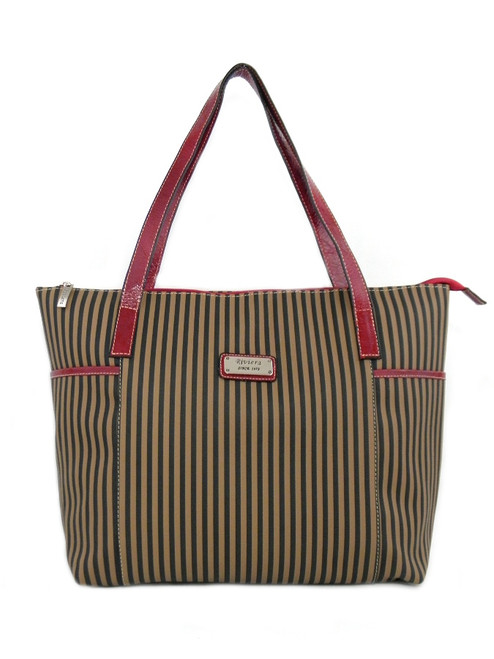 RED LEATHER LARGE CANVAS  TOTE