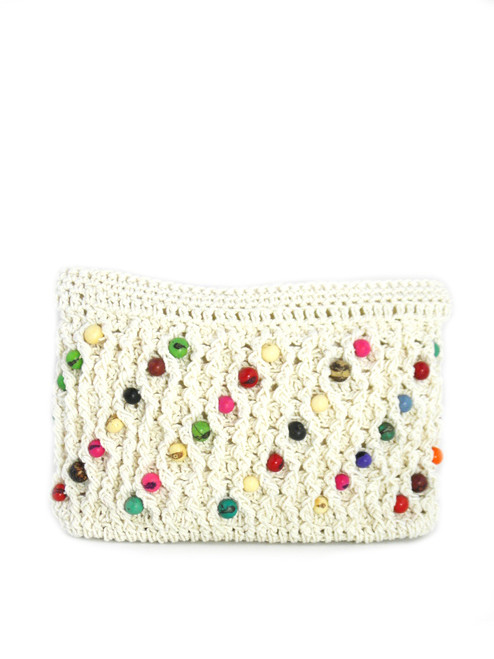 COTTON CROCHETED BEADED POUCH