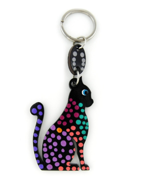DOTTED CAT WOOD KEYCHAIN
