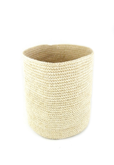 HAND KNIT NATURAL FIBER BASKET