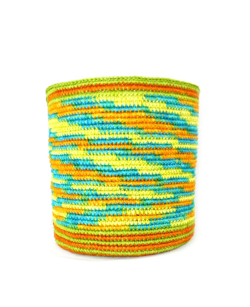 LIME GREEN, ORANGE & TURQUOISE BLEND NATURAL FIBER BASKET