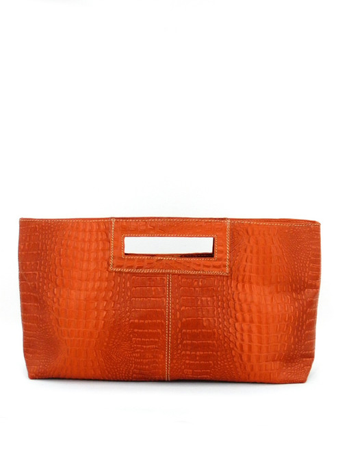 CROC EFFECT LEATHER CLUTCH