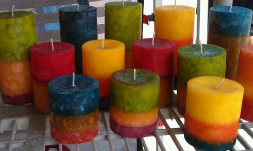 """3"""" round pillar candles. This picture shows all heights for comparison.  3x3 in front, 3x4.25 in the middle, and 3x7.25 in the back."""