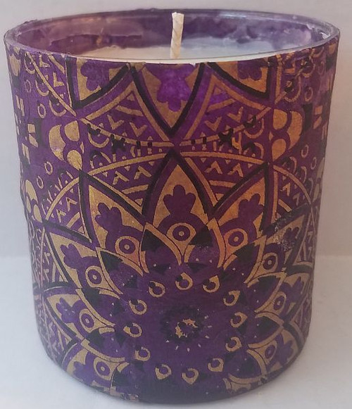 Purple mandala star design with gold and black.  Uniquely scented candles in decoupaged containers. These containers are covered with paper or fabric.