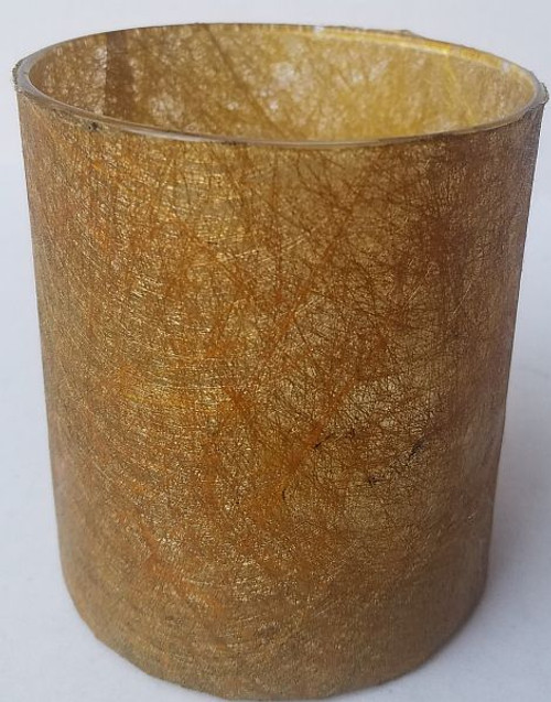 This a sheer gold paper that looks like spun lace.  It is very translucent and  gives off glow like a lantern when lit.
