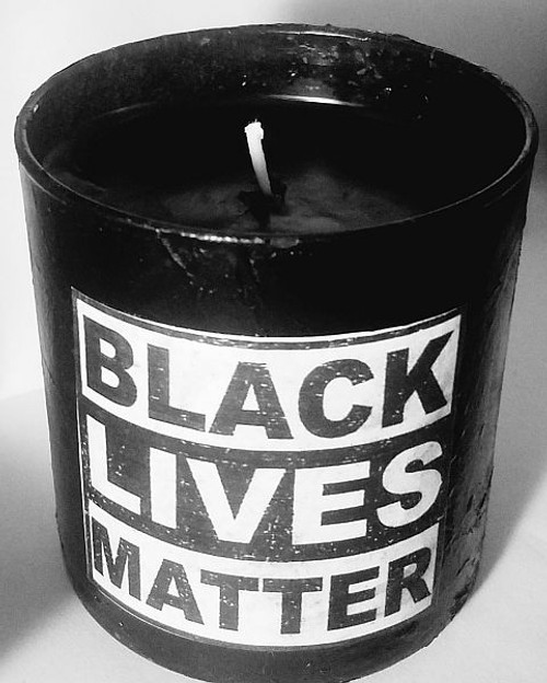 Black Lives Matter Container Candle in Black with Black Wax