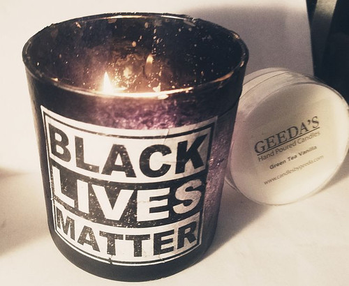 Black Lives Matter tealight holder.  This comes with three oversized tealights with a lower profile so the entire holder glows.