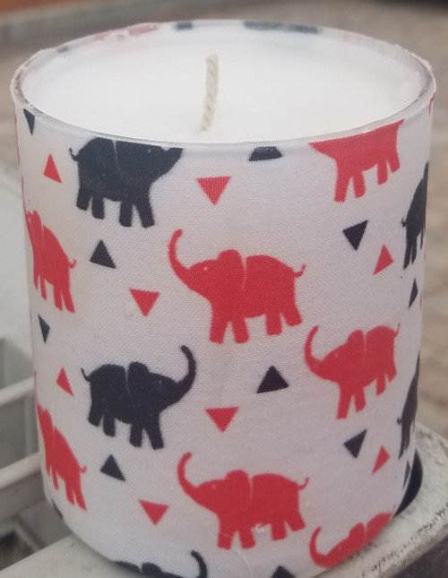 This fabric has red and black elephants with red and black pyramids on a white background. Makes a great gift for a Delta or for anyone who loves elephants