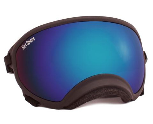 Rex Specs Dog Goggles Black with Clear and Blue Mirror Lens