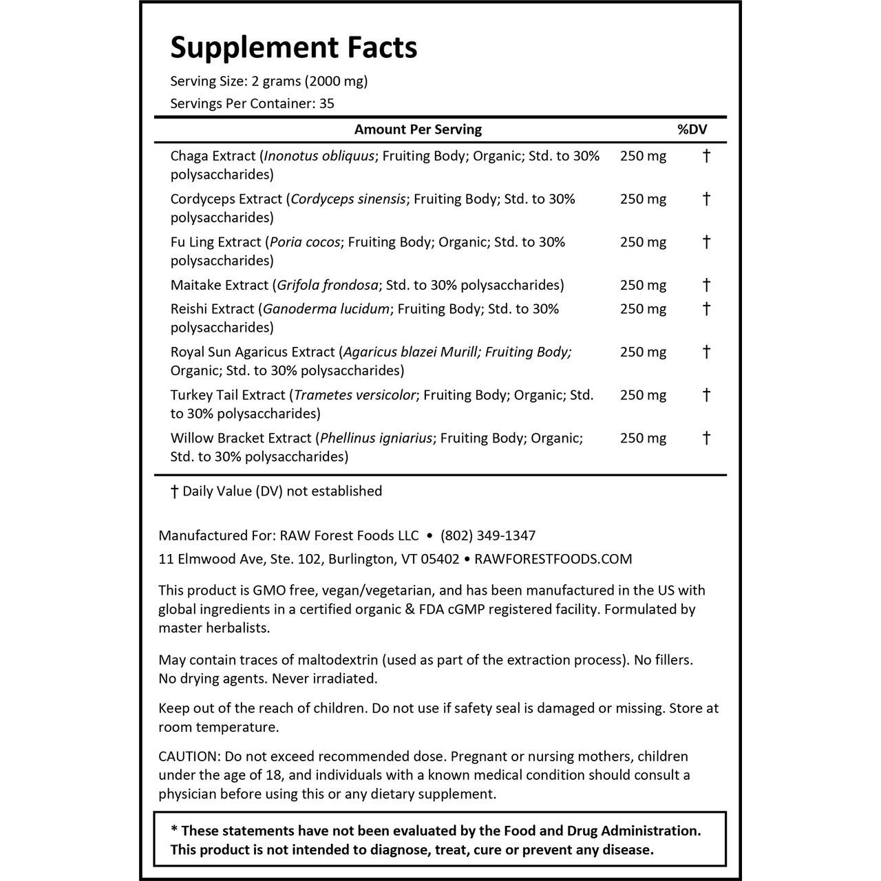RAW Forest Foods Twelve Rivers MycoMedic Extract Powder — Master Formulated Mushroom Complex — Ready to Use — 70 Gram Bulk Powder