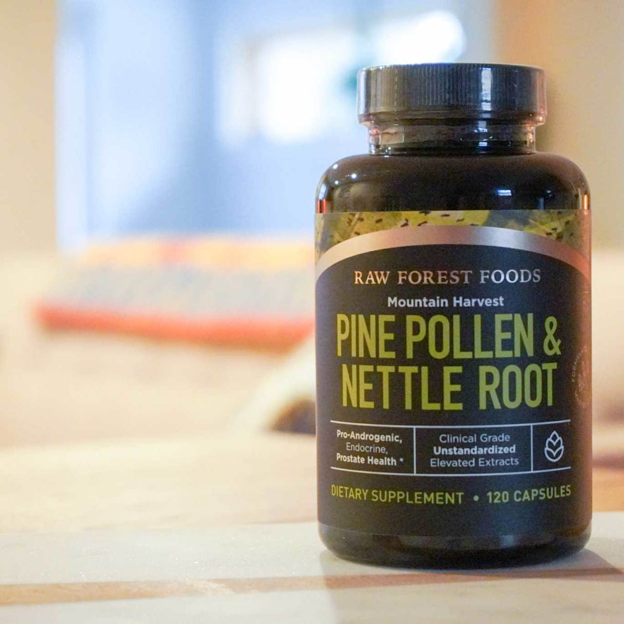 RAW Forest Foods Pine Pollen and Nettle Root Extract Capsules — Full Potency, Full Spectrum, and Unstandardized